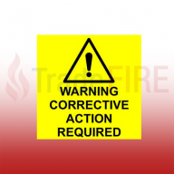 Warning Corrective Action Required Label