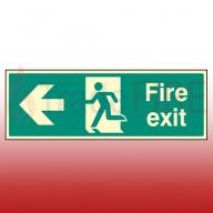 Photoluminescent Fire Exit Left Sign