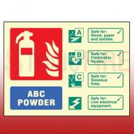 Landscape Photoluminescent ABC Dry Powder Fire Extinguisher Sign