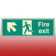 Photoluminescent Fire Exit Ahead Left Sign