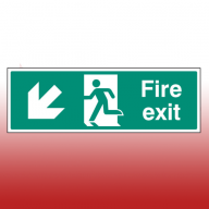 300mm X 100mm Self Adhesive Fire Exit Down Left Sign
