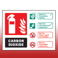 Landscape Rigid Plastic 100mm x 150mm  Co2 Fire Extinguisher Sign