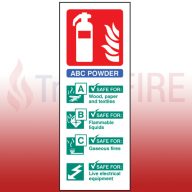 Portrait Rigid Plastic 200mm x 75mm ABC Dry Powder Fire Extinguisher Sign