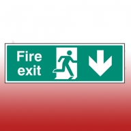 450mm X 150mm Self Adhesive Fire Exit Down Sign