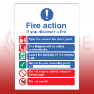 Self Adhesive Public Fire Action Sign 4