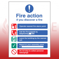 Self Adhesive Public Fire Action Sign 1