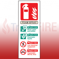 Portrait Rigid Plastic 200mm x 75mm AFFF Foam Fire Extinguisher Sign