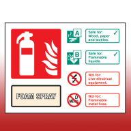 Landscape Rigid Plastic 100mm x 150mm AFFF Foam Fire Extinguisher Sign