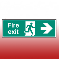300mm X 100mm Self Adhesive Fire Exit Right Sign