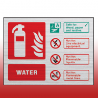 Prestige Landscape 100mm x 150mm Water Fire Extinguisher Sign (Stainless Look)
