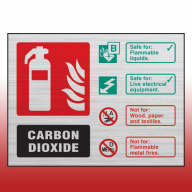 Prestige Landscape Co2 100mm x 150mm Fire Extinguisher Sign (Stainless Look)