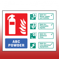 Landscape Rigid Plastic 100mm x 150mm ABC Dry Powder Fire Extinguisher Sign