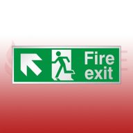 300mm X 100mm Prestige Fire Exit Ahead Left Sign (Stainless Look)