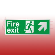 300mm X 100mm Prestige Fire Exit Ahead Right Sign (Stainless Look)