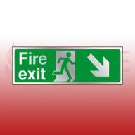 300mm X 100mm Prestige Fire Exit Down Right Sign (Stainless Look)