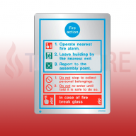 200mm X 150mm Stainless Steel General Fire Action Sign 2