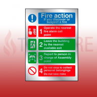 200mm X 150mm Prestige Fire Action Sign