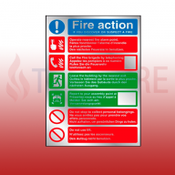 300mm X 200mm Multi-Lingual Prestige Fire Action Sign