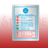 200mm X 150mm Prestige General Fire Action Sign (Stainless Look)