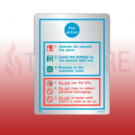 200mm X 150mm Stainless Steel General Fire Action Sign 1