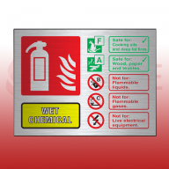 Prestige Landscape Wet Chemical 100mm x 150mm Fire Extinguisher Sign (Stainless Look)
